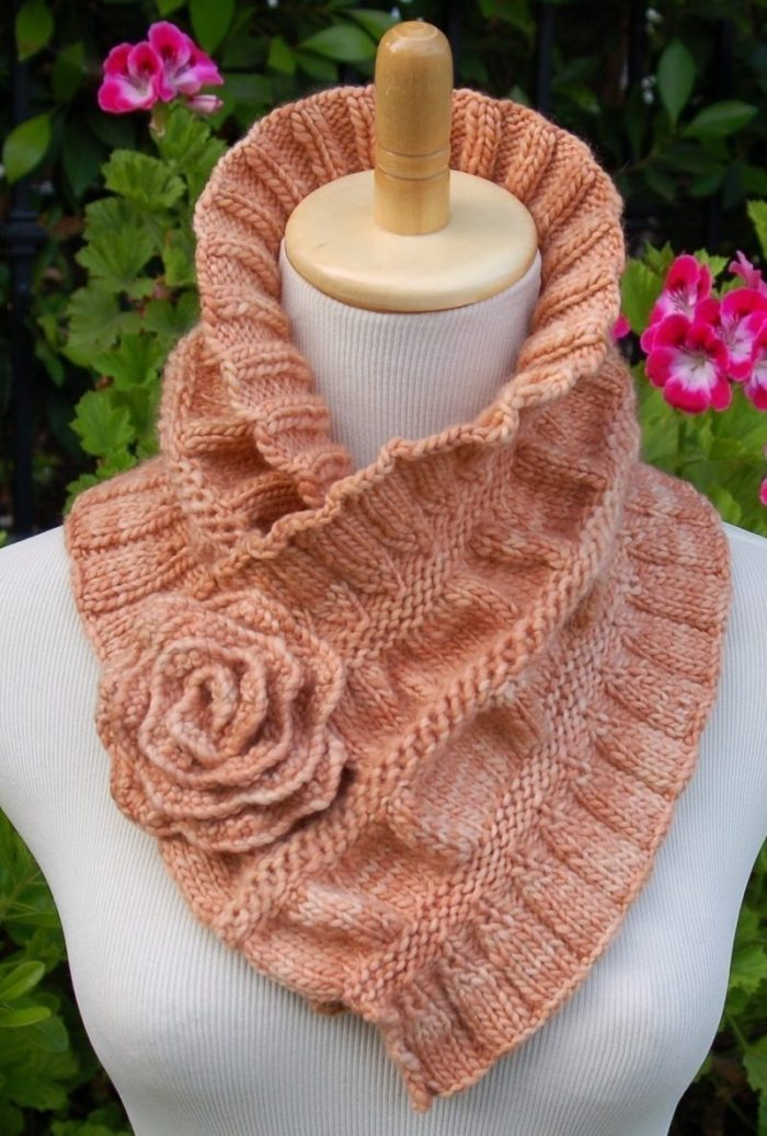 Knitting Pattern for Ruffled and Ruched Scarf