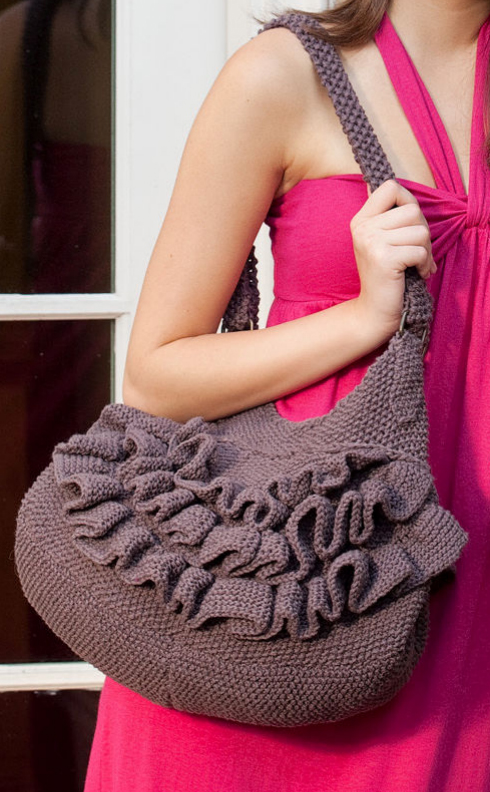 Free Knitting Pattern for Ruffled Shoulder Tote