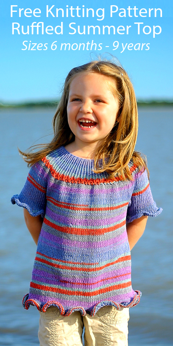 Free Knitting Pattern for Ruffled Baby and Child Top Sizes 6 months - 9 years