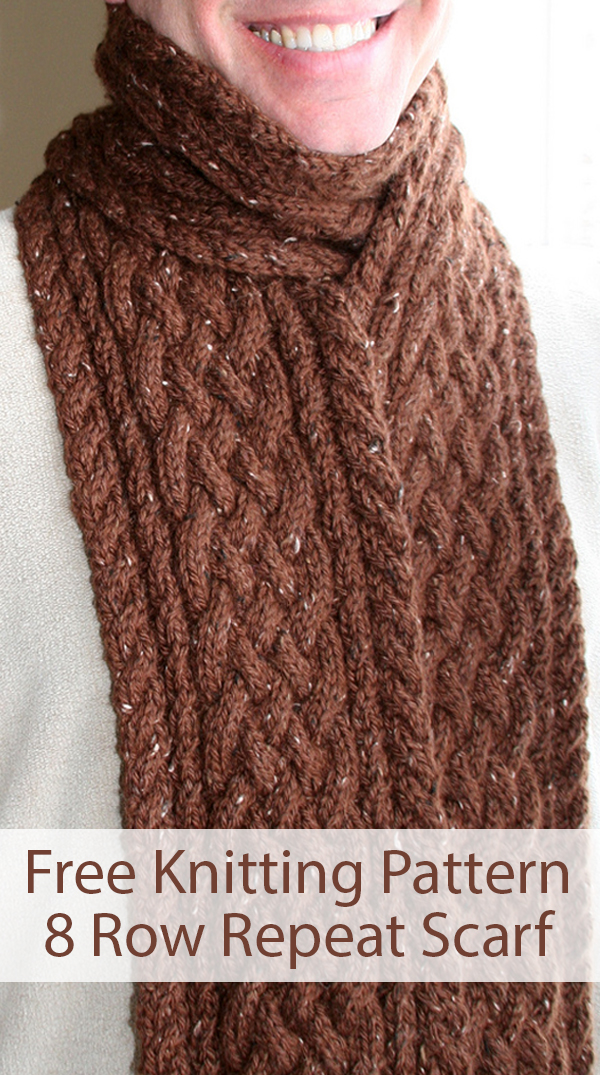 Free Knitting Pattern for 8 Row Repeat Unisex Rupe Cable Scarf