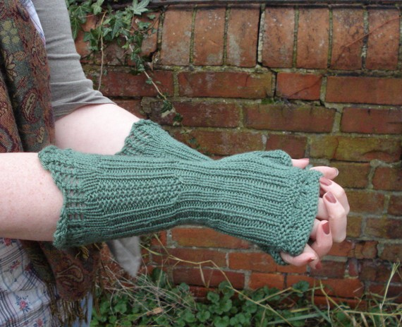 Knitting pattern for Russell Square Mitts with eyelets, frills and ribbing and more wrist warmer knitting patterns
