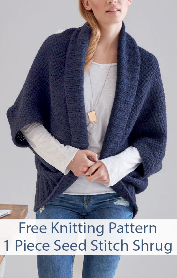 Free Knitting Pattern for Easy 1 Piece Seed Stitch Shrug