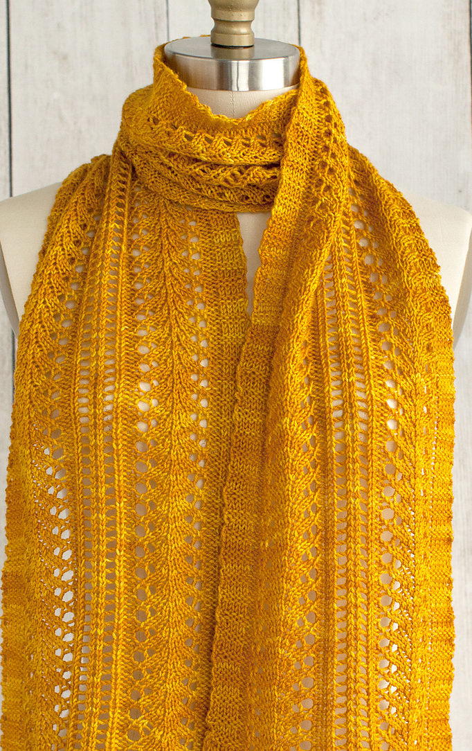 Free Knitting Pattern for Easy 4 Row Repeat Sage Smudging Scarf