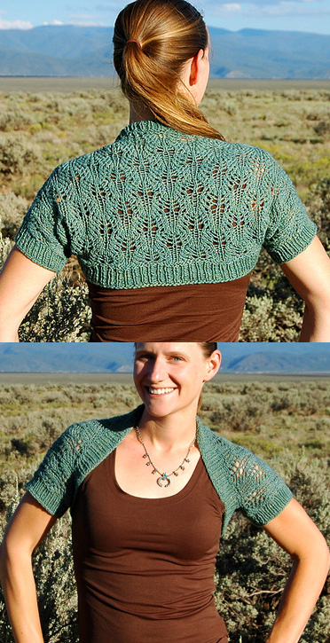 Free knitting pattern for Sagebrush Shrug knit with one skein