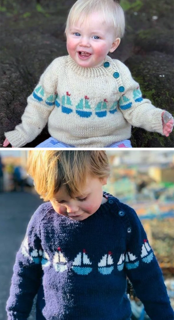 Knitting Pattern for Sailing Boats Baby and Child Sweater