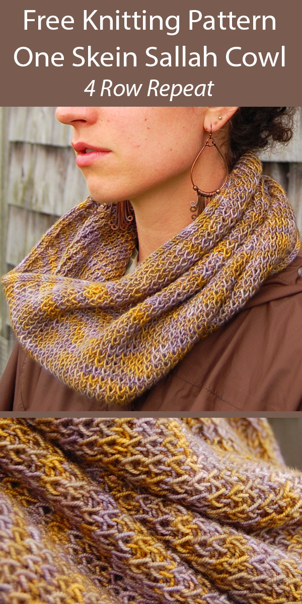 Free Knitting Pattern for One Skein Sallah Cowl in 4 Row Repeat