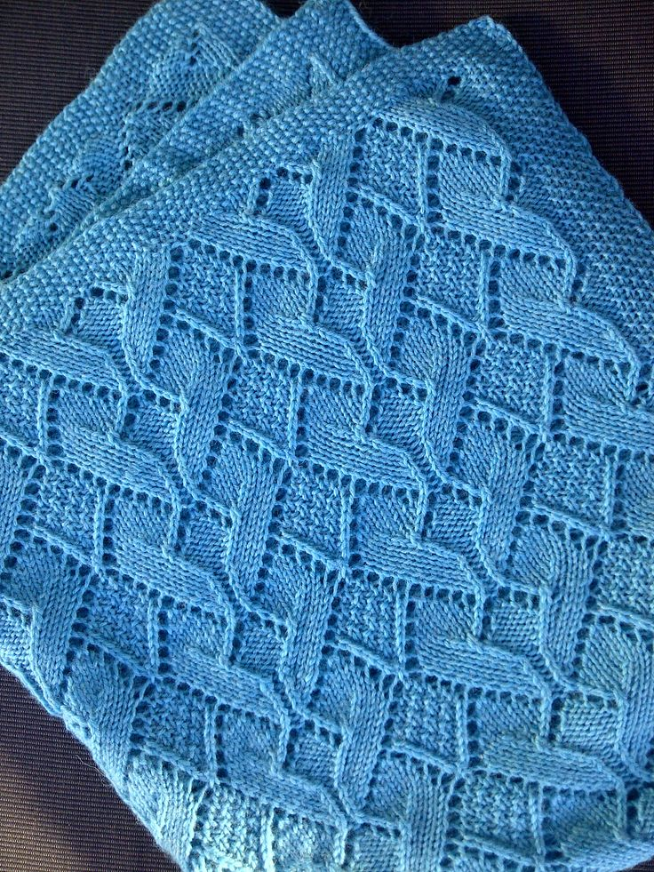 7238e71d1 Free knitting pattern for Sand Dunes Baby Blanket in moss stitch and diamond  heart lace and