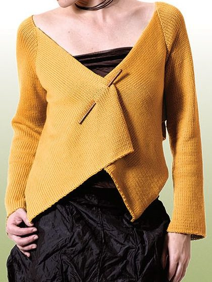 Free knitting pattern for Sanpoku Japanese inspired wrap cardigan