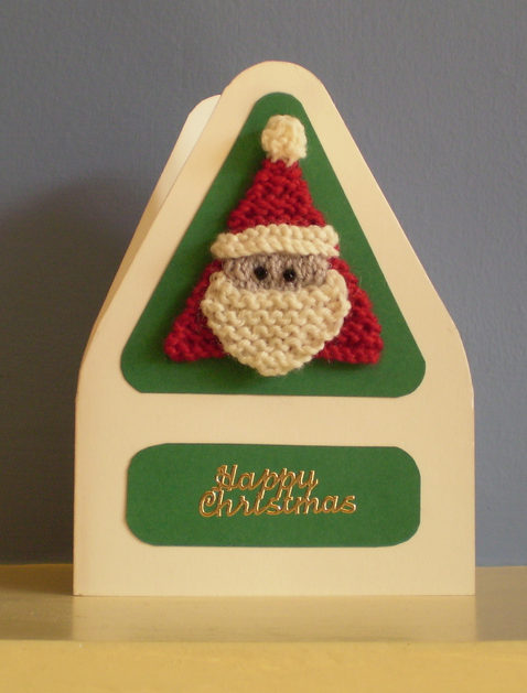 Free Knitting Pattern for Santa Card