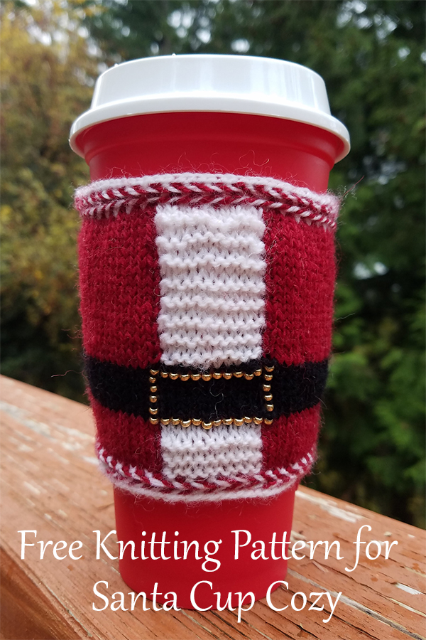 Free Knitting Pattern for Santa Coffee Cozy