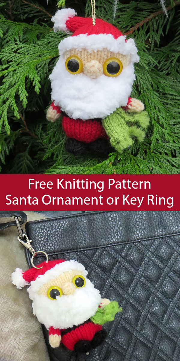 Free Knitting Pattern for Santa Ornament or Key Ring