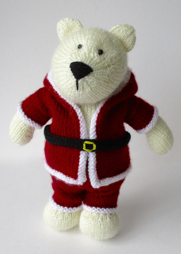 Knitting Pattern for Polar Bear in Santa Suit