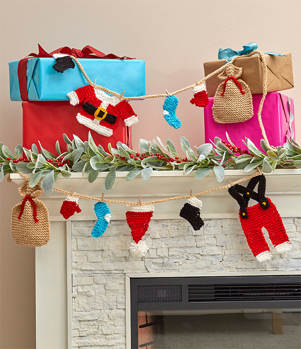 Free Knitting Pattern for Santa's Wardrobe Garland