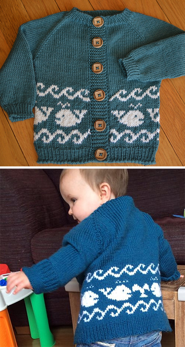 Free Knitting Pattern for Baby Whales Cardigan