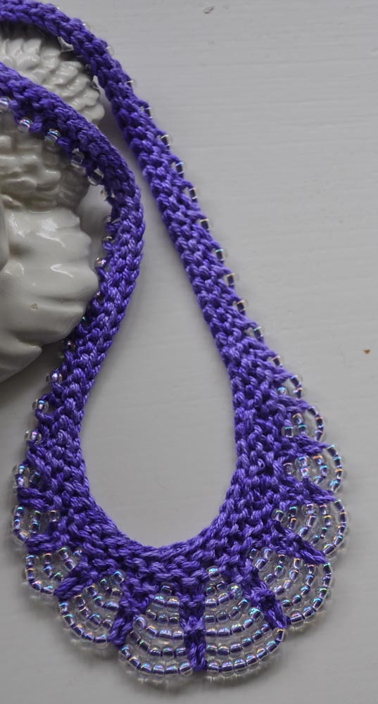 Knitting Pattern for Scallop Edge Beaded Necklace