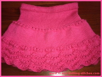Free knitting pattern for Scallop Edge Lace Skirt for Child Sizes