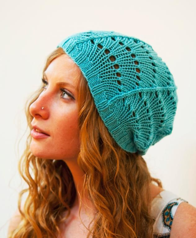 Free knitting pattern for Scallop Lace Hat and more beanie knitting patterns