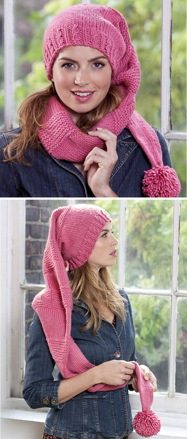 Free Knitting Pattern for Scarf Hat