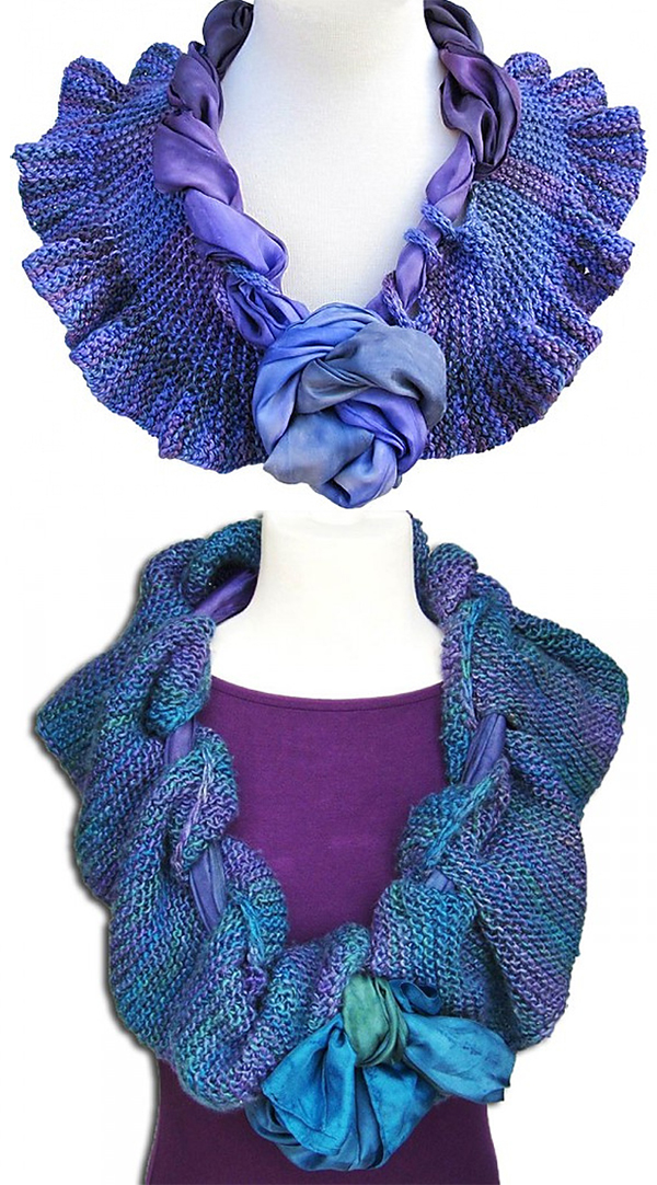 Free Knitting Pattern for Easy Scarf in a Scarf