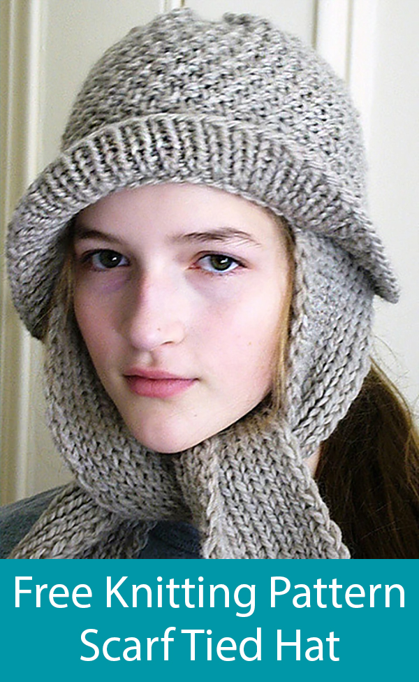 Free Knitting Pattern for Scarf Tied Hat