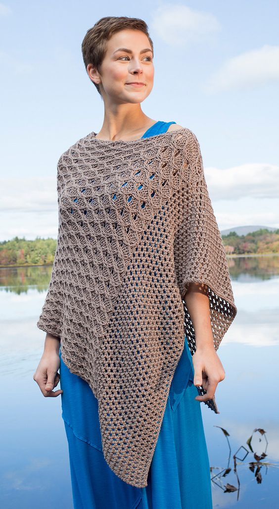 Knitting Pattern for Scarlet Sage Poncho