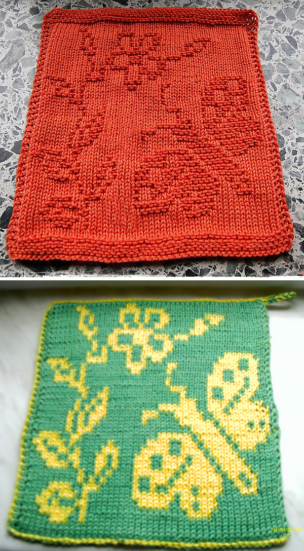 Free Knitting Pattern for Butterfly Cloth