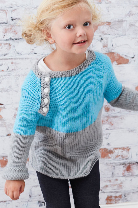 Free Knitting Pattern for Easy School Days Raglan Pullover