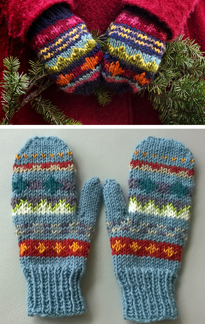 Free Knitting Pattern for Scrap Mittens