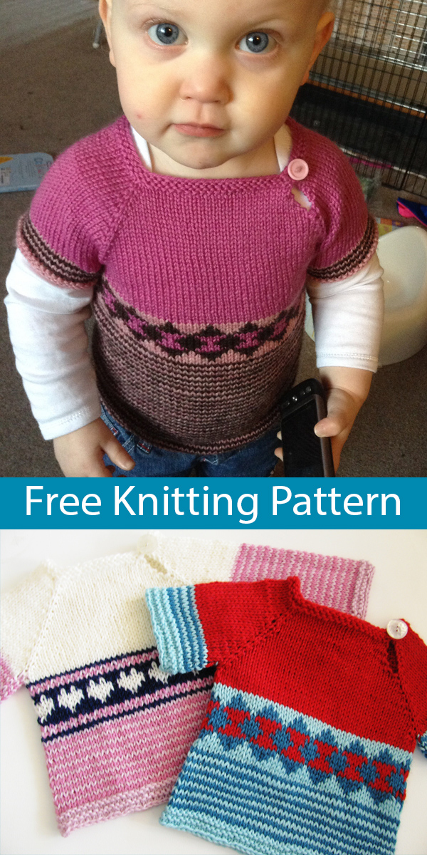 Free Knitting Pattern for Scrap Sweater for Baby or Child Sizes Newborn to 8 years