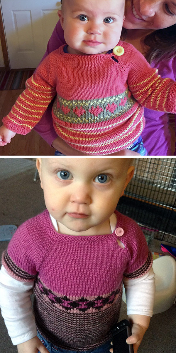 Free Knitting Pattern for Scrap Sweater for Babies and Children
