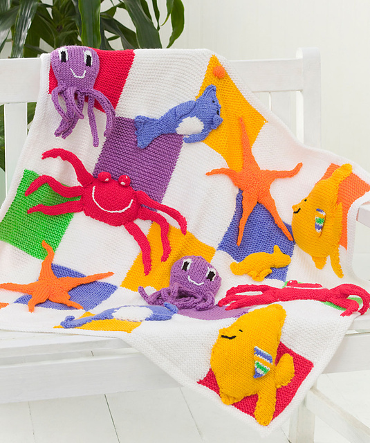 Free knitting pattern for Sea Creatures Throw