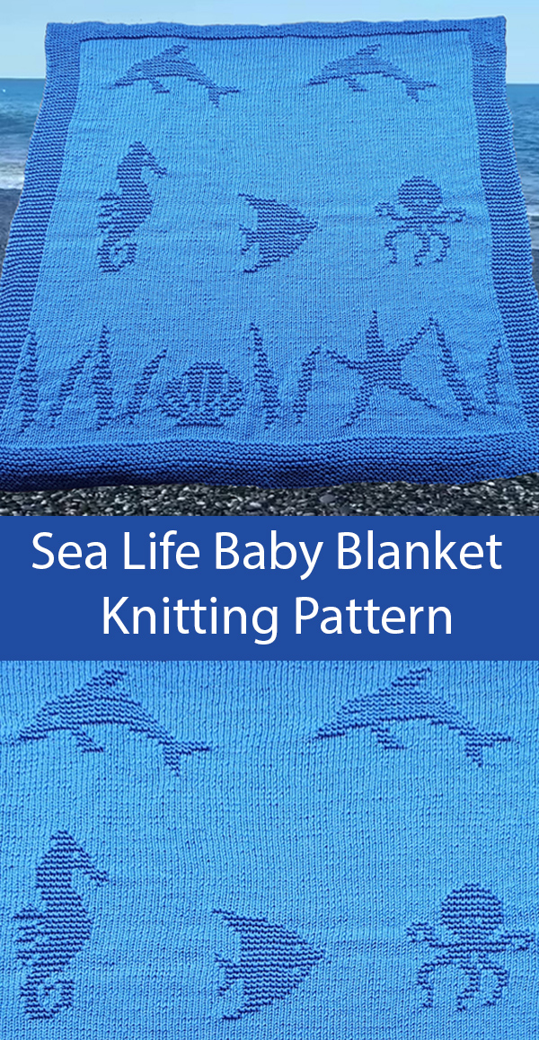 Knitting Pattern for Sea Life Baby Blanket