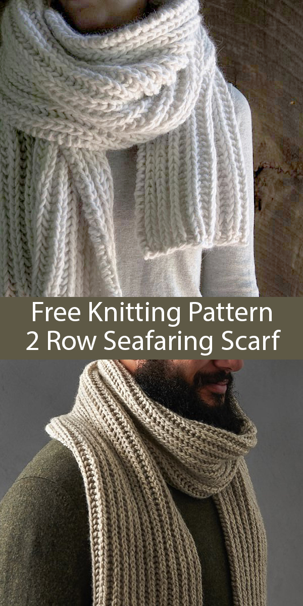 Free Knitting Pattern for Easy 2 Row Repeat Seafaring Scarf