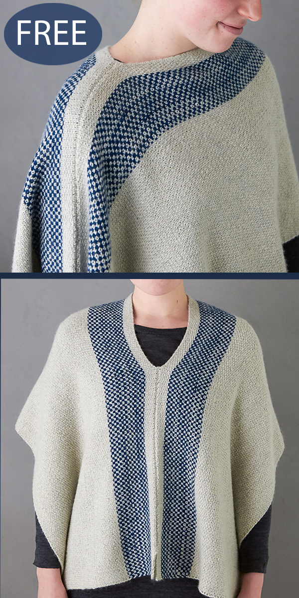 Free Knitting Pattern for 1 Piece 2 Row Repeat Poncho