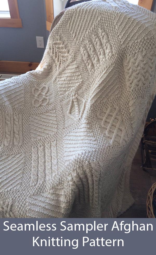 """Sampler  Afghan ~ 25 Different Squares 48/"""" x 48/"""" ~ Aran Wool Knitting Pattern"""