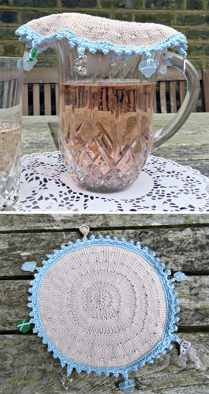 Free Knitting Pattern for Seaside Jug Cover