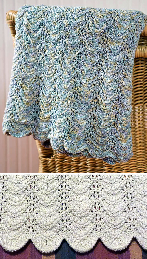 Free Knitting Pattern for 6 Row Repeat Seaside Waves Blanket