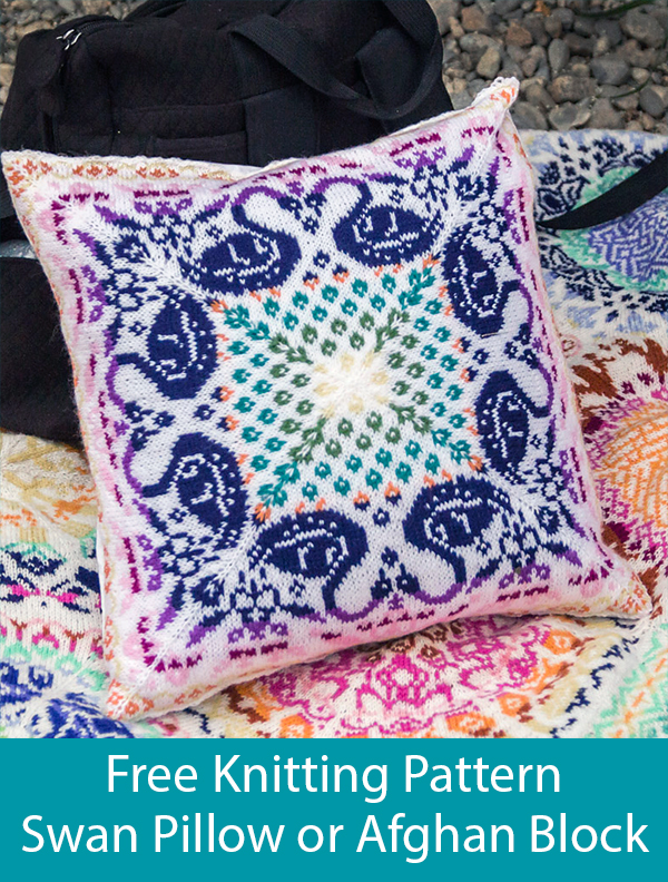 Free Knitting Pattern for Swan Cushion or Afghan Block