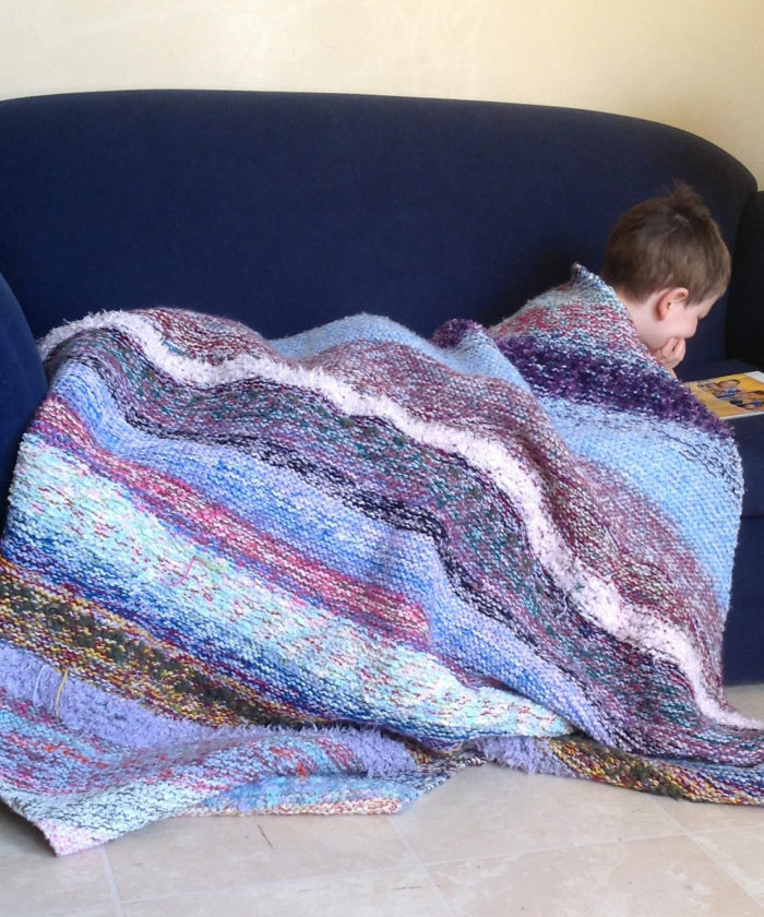 Free knitting pattern for Sediment Scraps Blanket