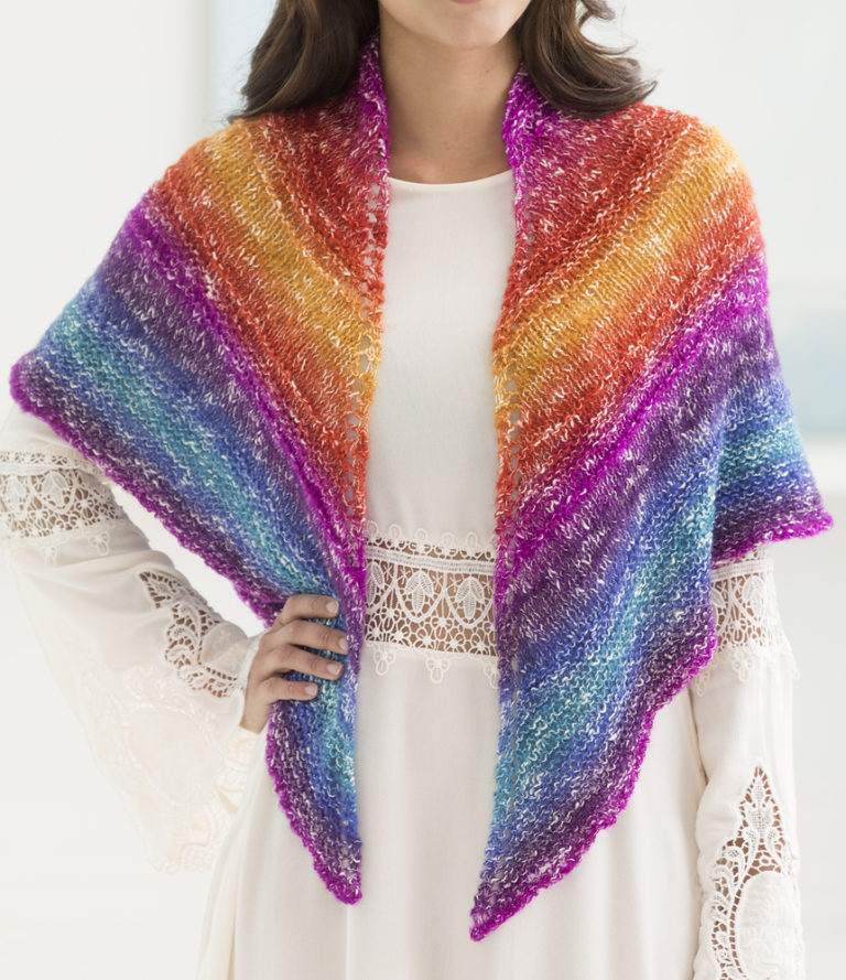 Free Knitting Pattern for Sedona Triangle One Skein Shawl