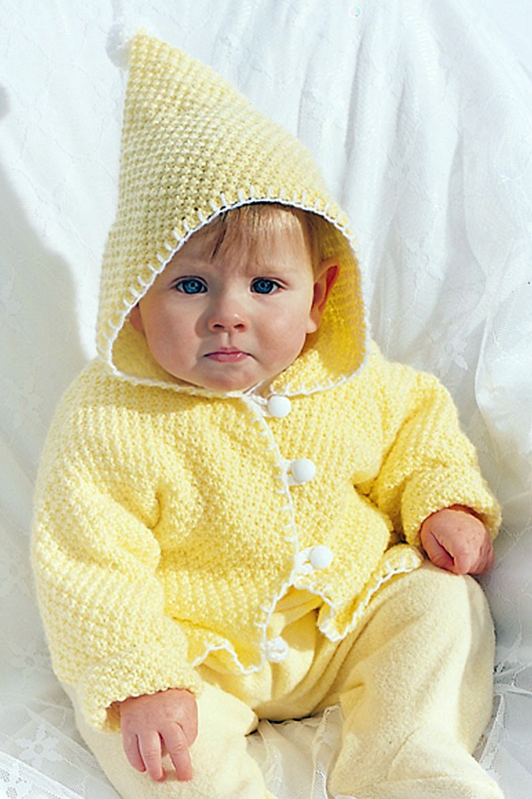 Free Knitting Pattern for Seed Stitch Hooded Baby Jacket