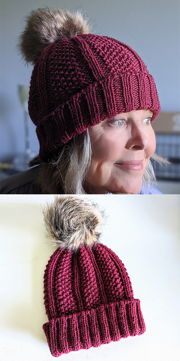 Free Knitting Pattern for Noelle Seed Stitch Ribbed Hat