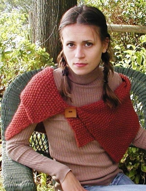 Knitting pattern for Seed Stitch Wrap made of one rectangle folded