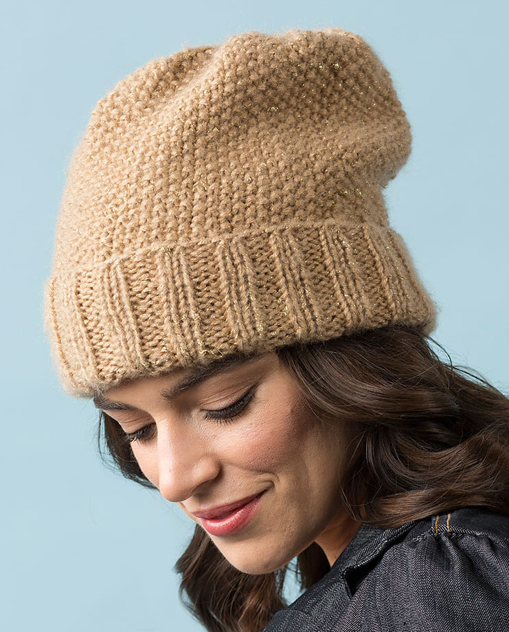 Free Knitting Pattern for Seed Stitch Slouchy Hat