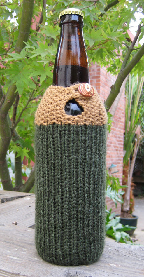Free Knitting Pattern for Seeing Double Beer Cozy