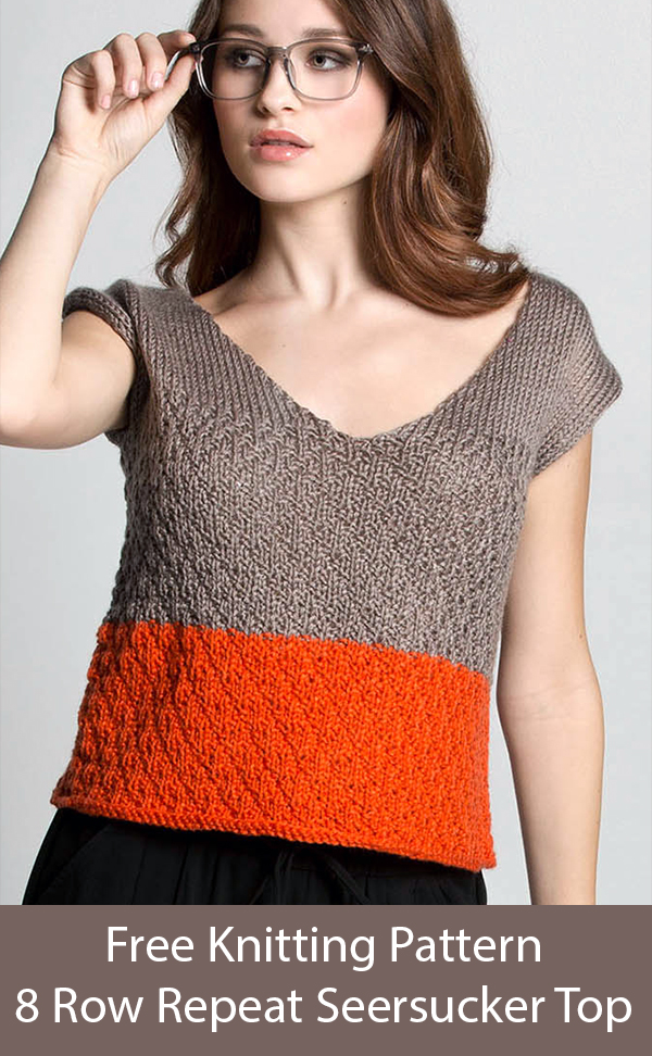Free Knitting Pattern for Easy 8 Row Repeat Seersucker Top