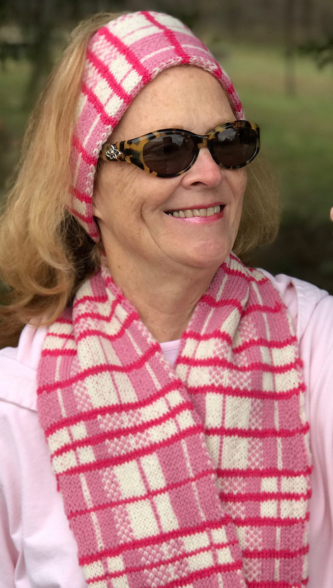 Free Knitting Pattern for Selfie Plaid Scarf and Headband Set