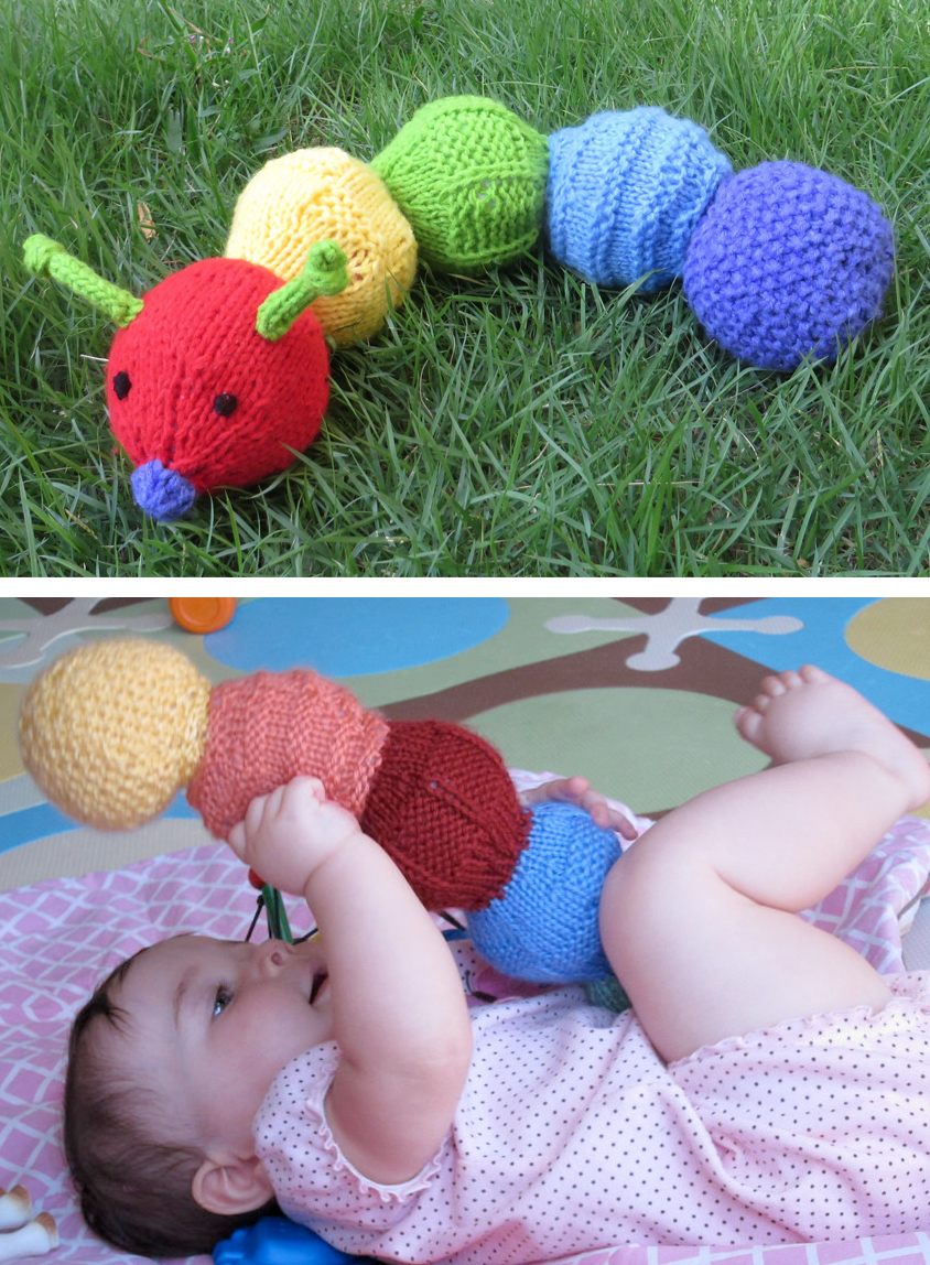 Knitting Pattern for Sensory Caterpillar Baby Toy