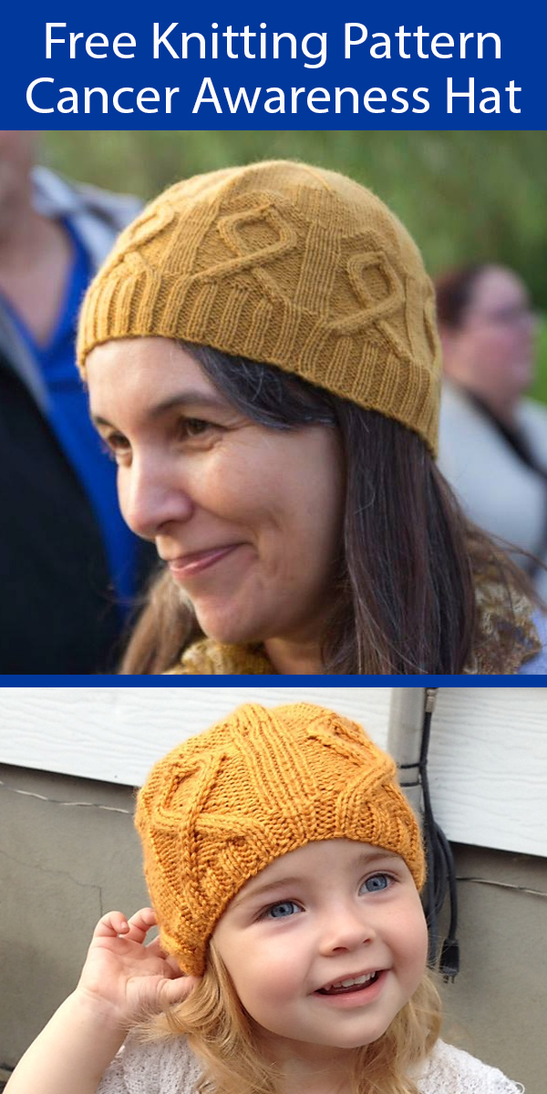 Free Knitting Pattern for Childhood Cancer Awareness Ribbon Hat