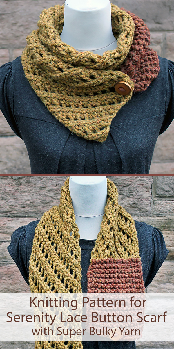 Knitting Pattern for Serenity Lace Button Scarf
